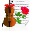 Violin with Rose — Stock Vector