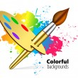 Vector brush on color background — Stock Vector