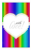 Color pencils heart shaped — Vector de stock