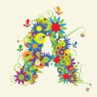 Letter A, floral design — Stock Vector