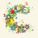 písmeno c, květinový design — Stock vektor