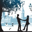 Couple under the tree in city park — Imagen vectorial