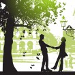 Couple under the tree in city park — Stock vektor