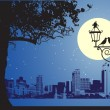 Urban night scene, idyllic - Stock Vector