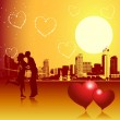 Valentine day, urban scene, couple — Stock Vector