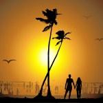 Tropical sunset, beach — Stock Vector #3099287