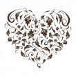 Floral heart shape for your design - Stok Vektör