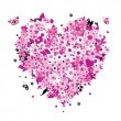 Floral heart shape for your design - Stock Vector