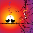 Love, birds kissing on branch - Vettoriali Stock