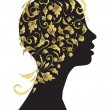 Beautiful woman, head silhouette — Stock Vector
