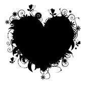 A forma di cuore floreale per il vostro disegno — Vettoriale Stock