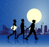 Urban teens, night scene — Stock Vector