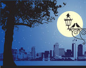 Urban night scene, idyllic — Stock Vector