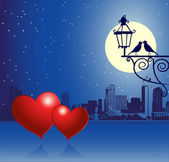 Valentine day, urban scene, couple — Vector de stock
