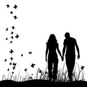 Couple on meadow, black silhouette — Stockvektor
