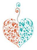 En forme de cœur floral pour votre conception — Vecteur