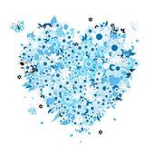 En forma de corazón floral para su diseño — Vector de stock