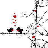 Amor, aves besando en rama — Vector de stock