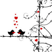 Love, birds kissing on branch — Vector de stock