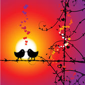 Love, birds kissing on branch — Vettoriale Stock