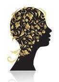 Beautiful woman, head silhouette — Stock Vector