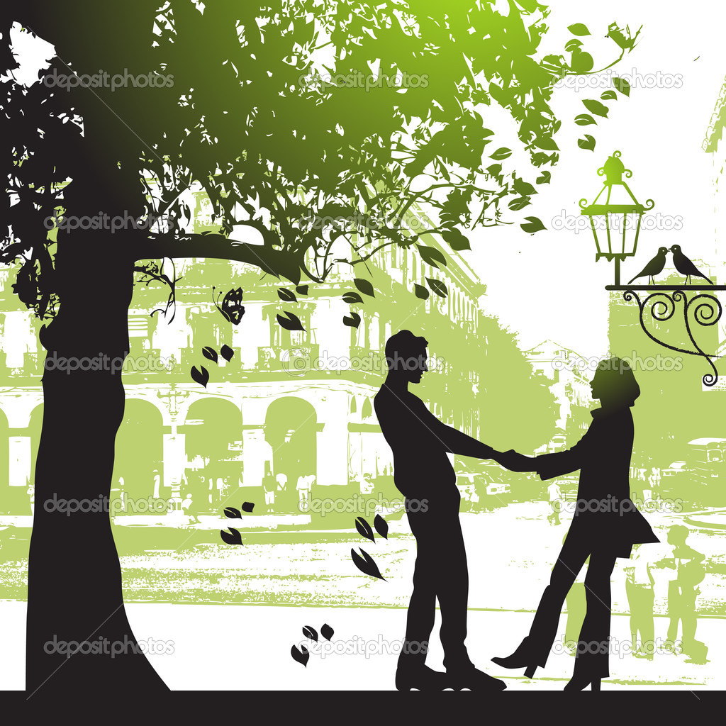 Couple under the tree in city park — Stock Vector #3099092