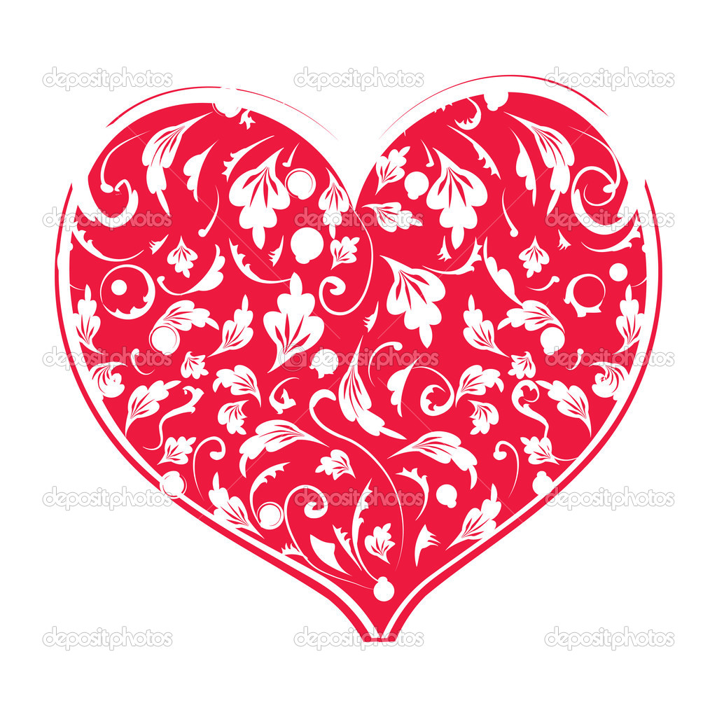 Floral heart shape for your design — Stock Vector #3099421