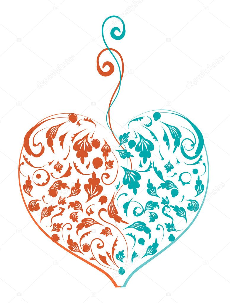 Floral heart shape for your design — Stock Vector #3099440