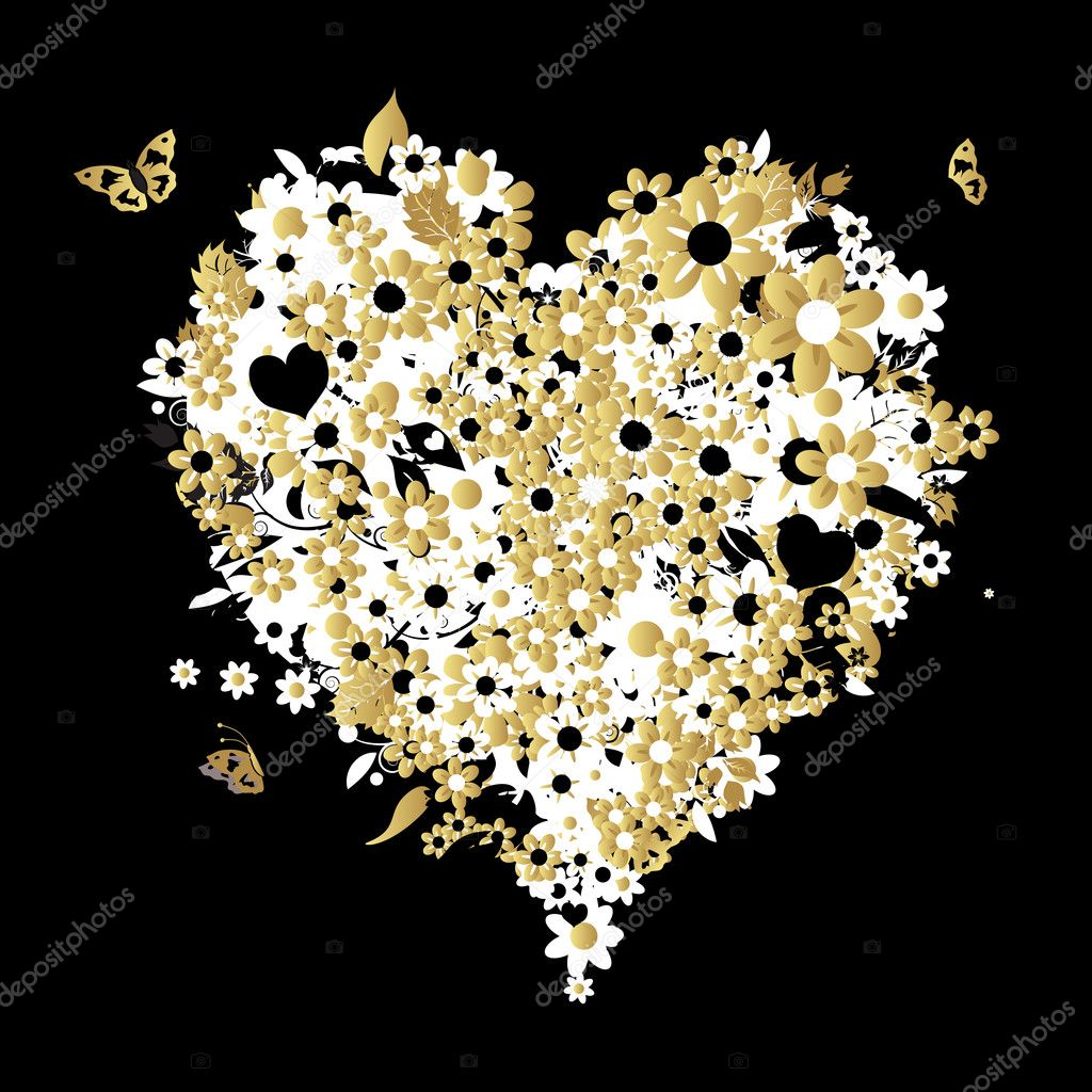 Floral heart shape for your design  Stock Vector #3099464