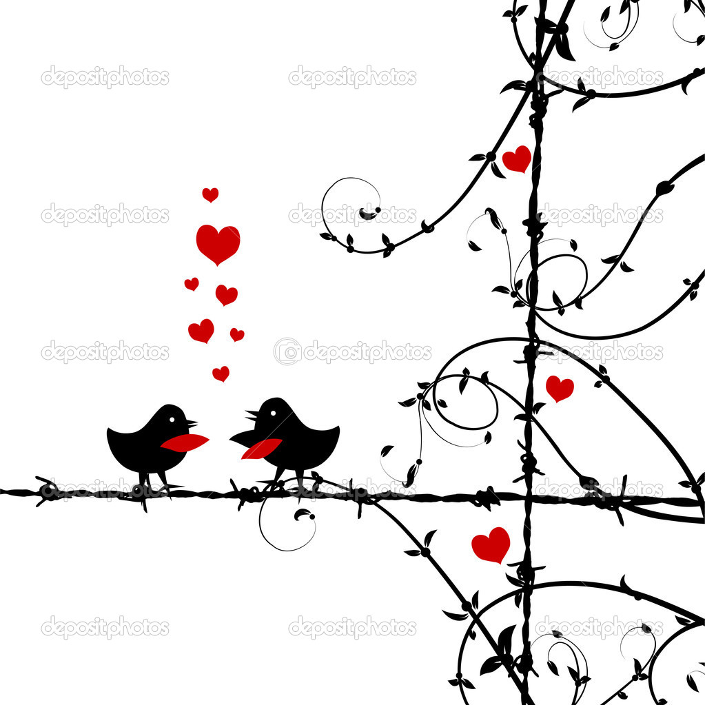Love, birds kissing on branch  Imagens vectoriais em stock #3099504