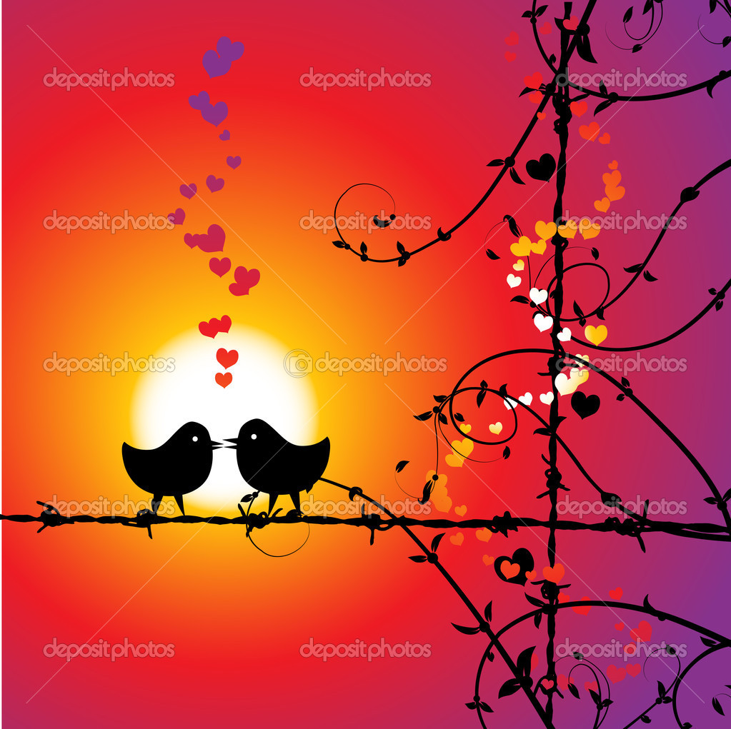 Love, birds kissing on branch  Vettoriali Stock  #3099509