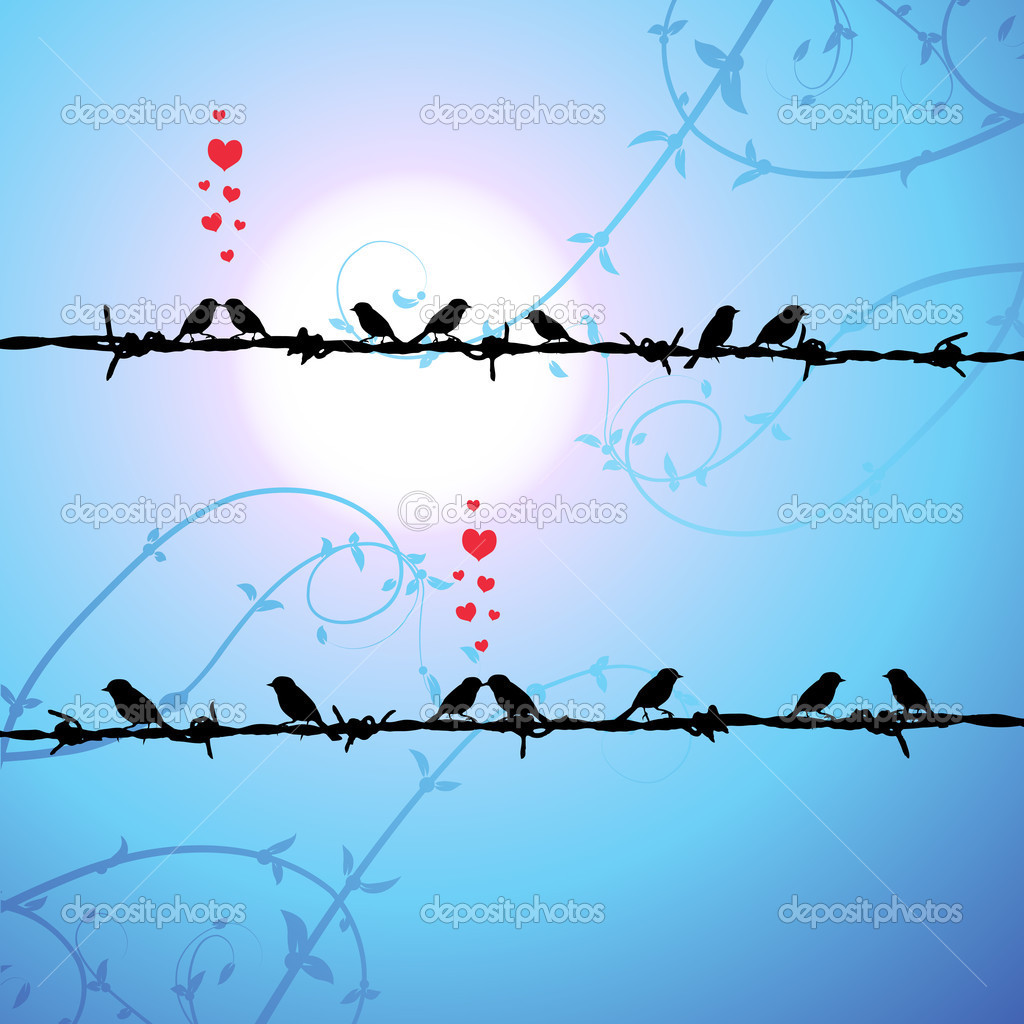Love, birds kissing on branch  Stock Vector #3099520