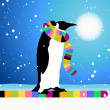 Vector de stock : Penguin, winter in Arctic