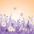 Spring meadow beautiful — Stock Vector