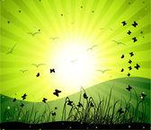Magic meadow, illustration — Stock Vector