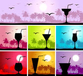 Cocktail party on the beach — Stock Vector