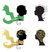Beautiful woman, head silhouette for your design — Stock Vector