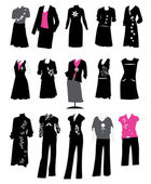 Collection of women's suits — Stock Vector