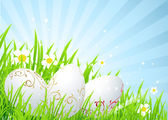 Easter eggs on the spring meadow — Stock Vector