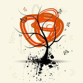 Art tree, grunge background — Stock Vector