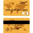 Stock Vector: Bank card design, world travel