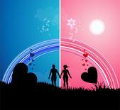 романтичная прогулка — Cтоковый вектор