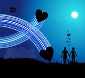 Romantic walk — Stock Vector