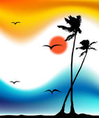 Tropical sunset, palm tree silhouette — Stock Vector