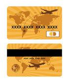 Banka kartı tasarımı, dünya seyahat — Stok Vektör
