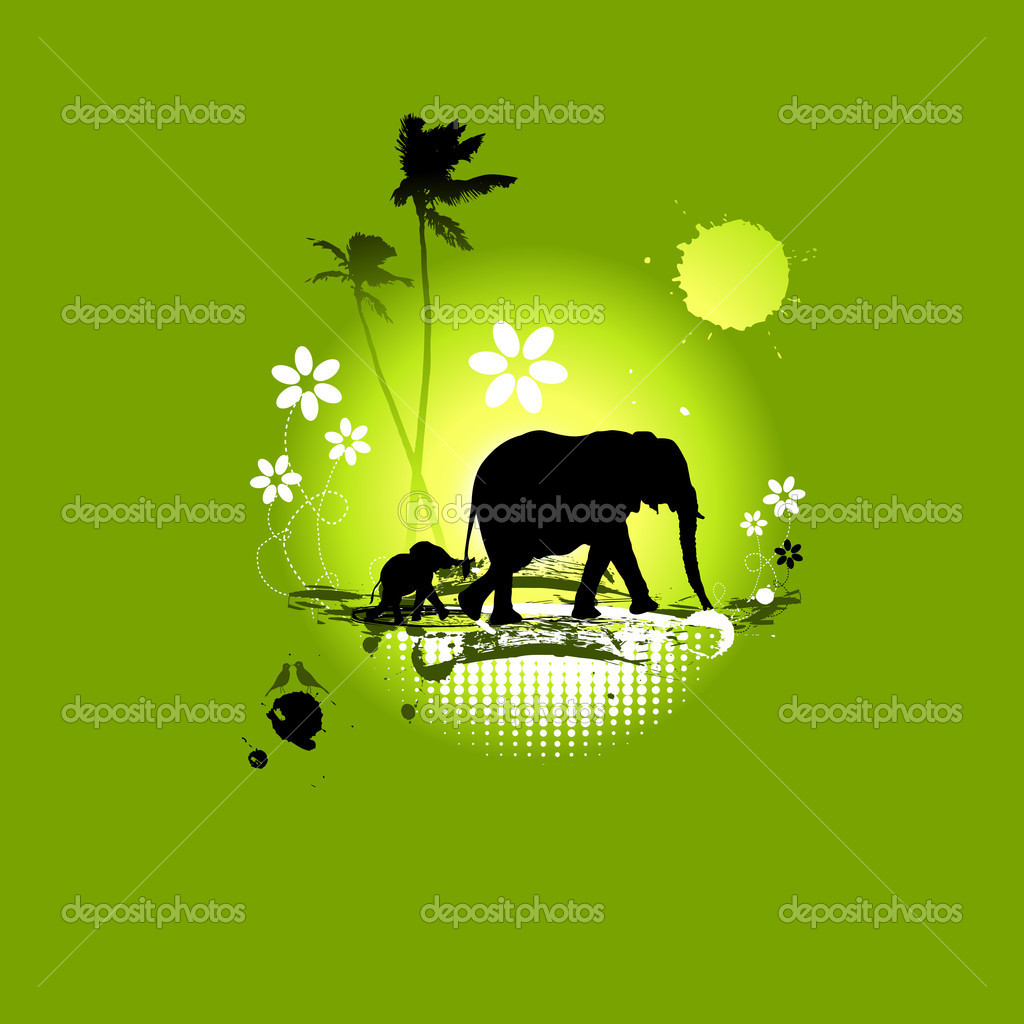 Family of elephants, summer illustration   Grafika wektorowa #3151682