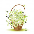 Basket with flowers for your design — Stock Vector #3209825