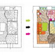 Interior design apartments - top view. - Image vectorielle