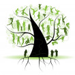 Stock Vector: Family tree, silhouettes