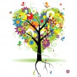 Summer floral tree, heart shape - Stock Vector